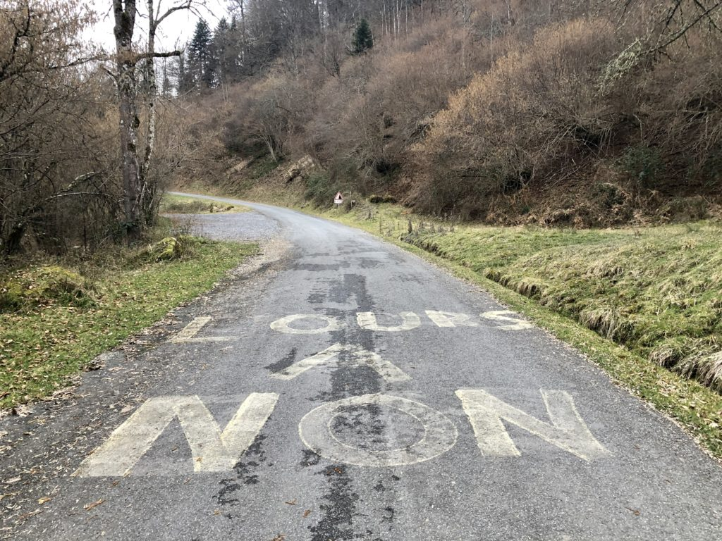 "Photo d'un message sur la route disant ""non à l'ours"""